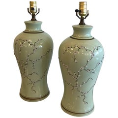 Pair Green Chinoiserie Ginger Jar Table Lamps Cherry Blossom Icing Flowers