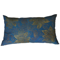 Venetian Turquoise Blue and Gold Linen Pillow