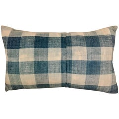 Mid-19th Century French Home Spun Indigo Dyed Check Pillow #9