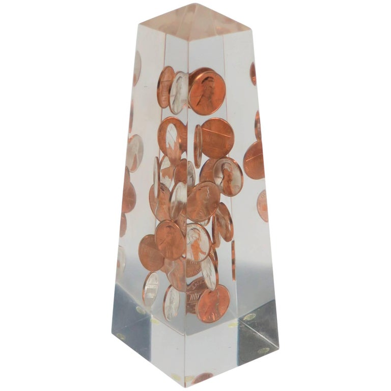 Modern Lucite and Penny Obelisk, ca. 1970s For Sale