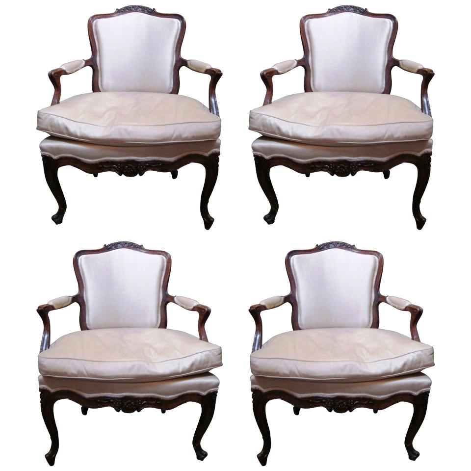 Set of Four 18th Century Italian Rococo Armchairs