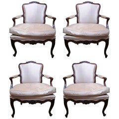 Set of Four 18th Century Italian Rococo Armchairs