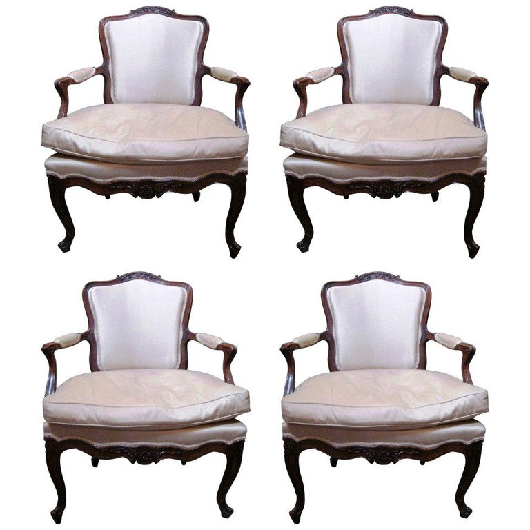 Set of Four 18th Century Italian Rococo Armchairs For Sale