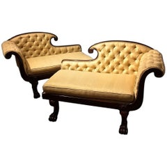 "Pair of Diminutive Chaise Lounges in the Méridienne or ""Fainting Couch"" Style"
