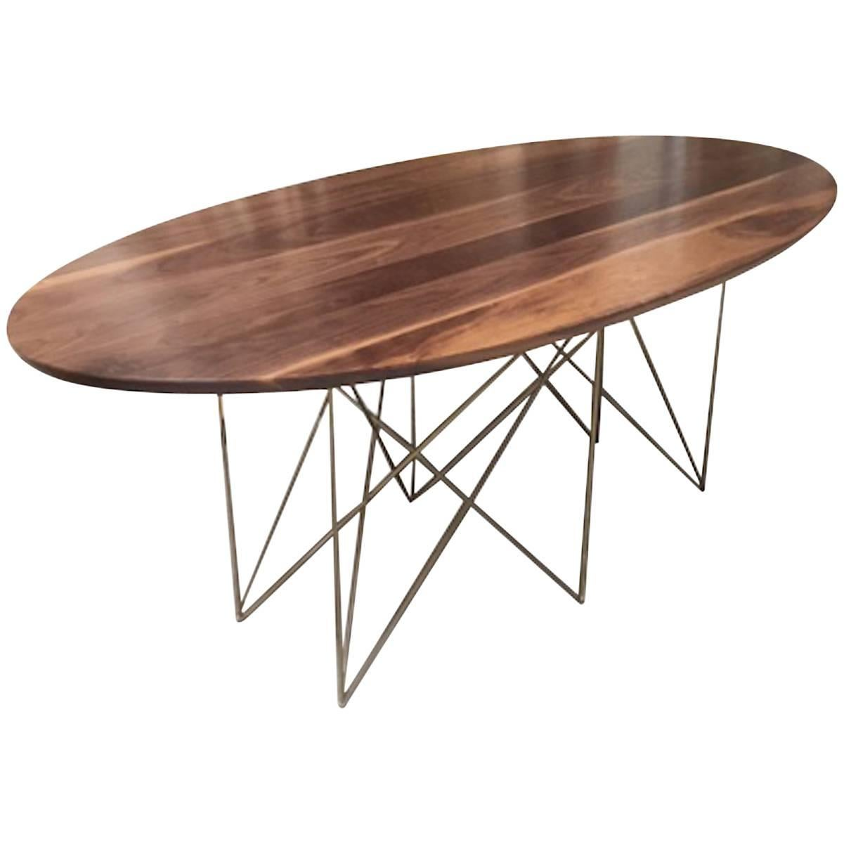 Oval Walnut Dining Conference Midcentury Inspired Steel Powder Coated Table