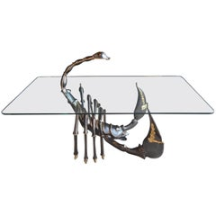 Brass Scorpion Coffee Table Attributed to Jacques Duval