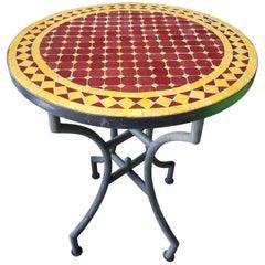 "24"" Burgundy / Yellow Moroccan Mosaic Table - CR4"