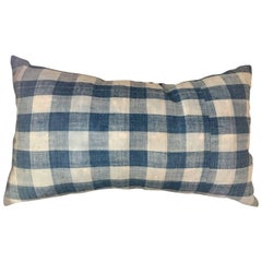 Mid-19th Century French Home Spun Indigo Dyed Check Pillow #10