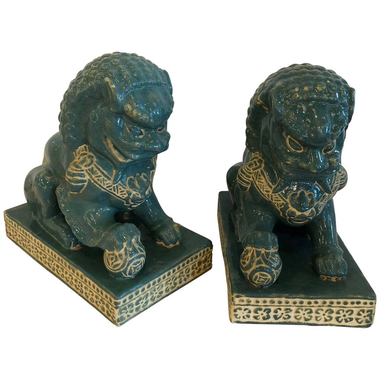 Pair vintage Teal Foo Dogs Hollywood Regency Chinoiserie For Sale
