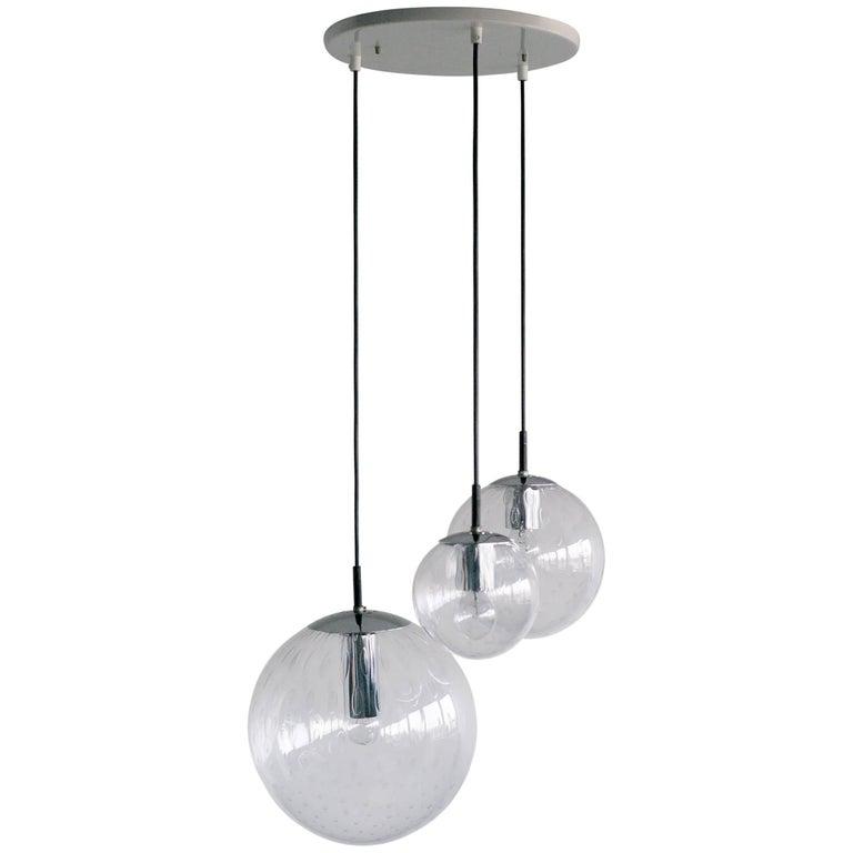 RAAK Three Globe Bubble Glass Chandelier