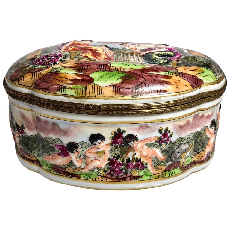 Antique French Porcelain Jewel Box in the Capo Di Monte Style, circa 1890