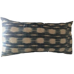 Mid-19th Century French Home Spun Indigo Dyed Ikat Pillow #11