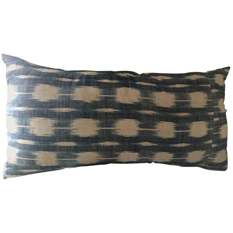 Mid-19th Century French Home Spun Indigo Dyed Ikat Pillow #11 For Sale