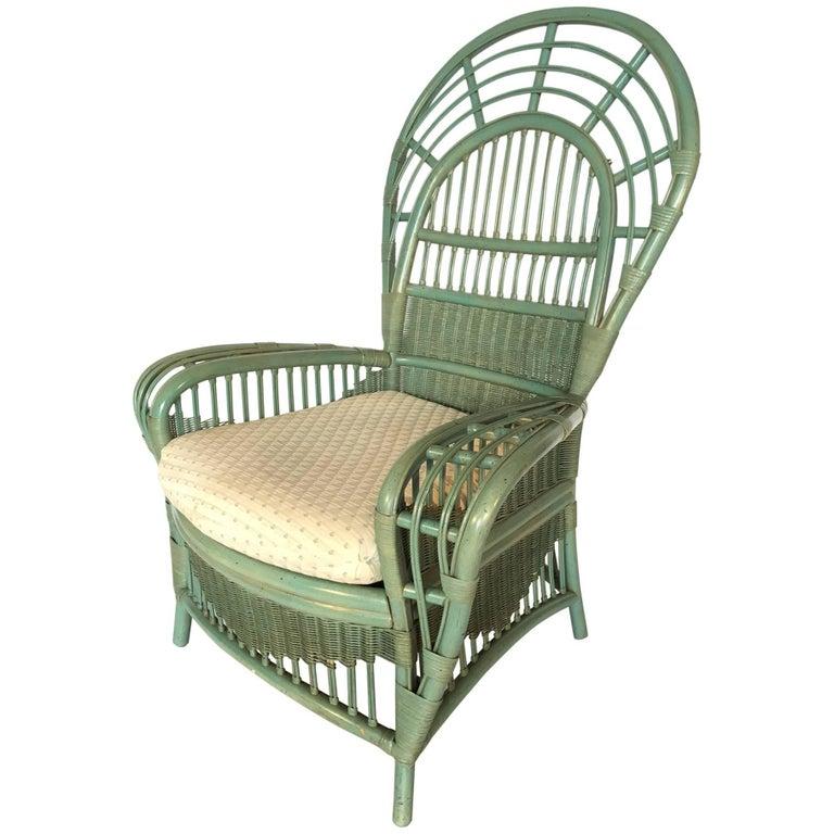 Ficks Reed Rattan Bamboo Fan Back Armchair