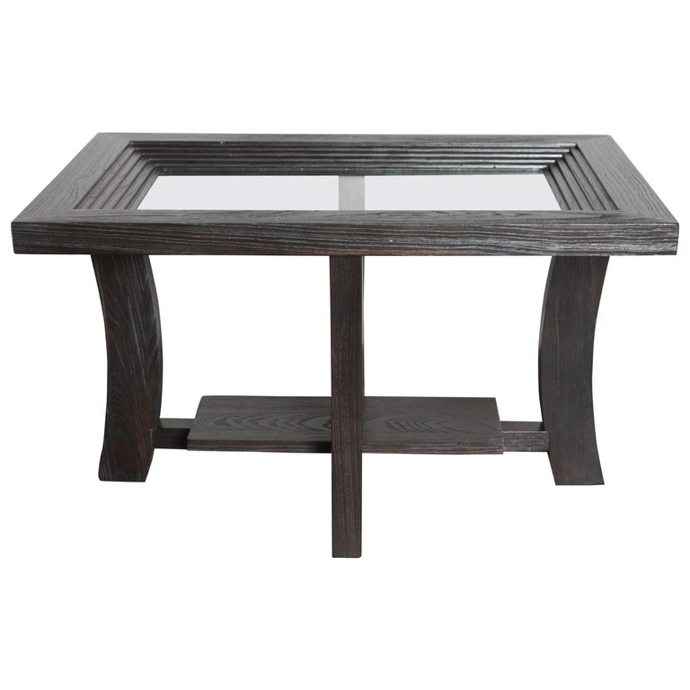 Post Art Deco Cerused Oak Side Table by Brown Saltman Paul Frankl
