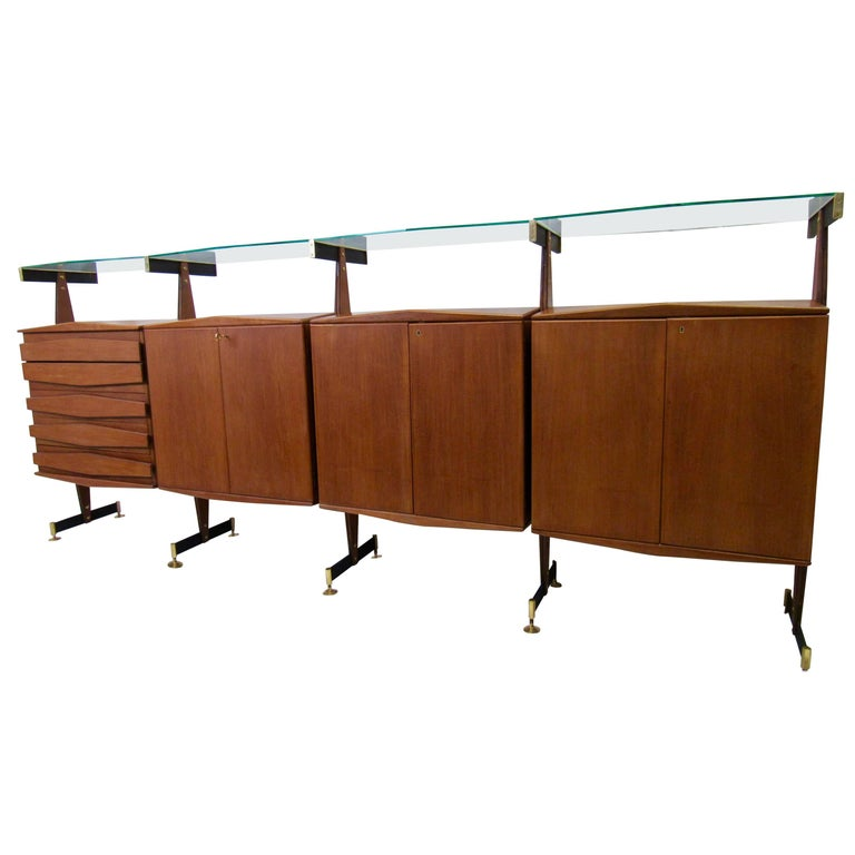 Midcentury Italian Teak and Bronze Four Cabinet Sideboard Suspended Glass, 1960