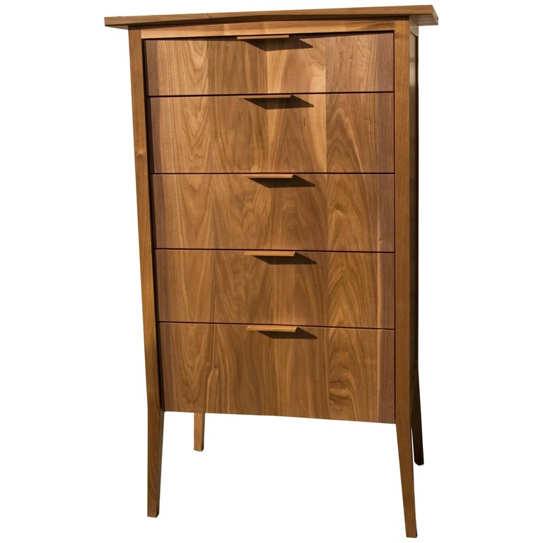 Dresser, Storage, 5 Drawers, Modern, Hardwood, Walnut, Customizable, Semigood For Sale