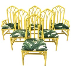 Tropical Banana Leaf Print Bamboo Rattan Dining Chairs by Henry Link