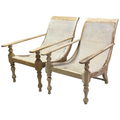 Pair of Dutch Colonial Solid Satinwood Caned Sling Back Planters Chairs, 1850