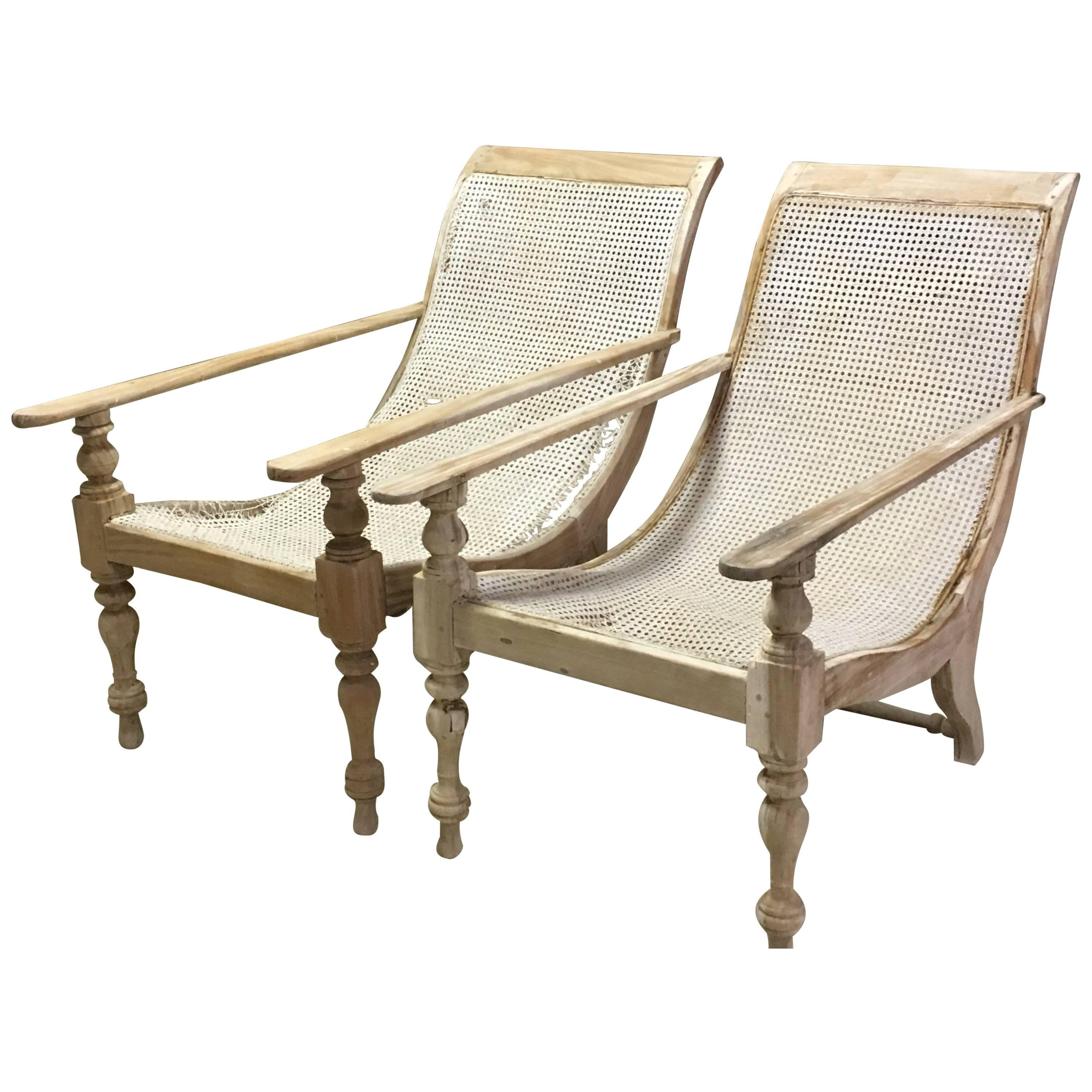 Merveilleux Pair Of Dutch Colonial Solid Satinwood Caned Sling Back Planters Chairs,  1850 For Sale