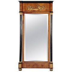Fruitwood and Ebonized Parcel Gilt Neoclassical Pier Mirror