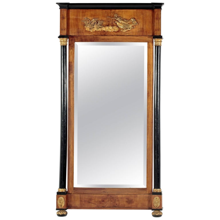 Fruitwood and Ebonized Parcel Gilt Neoclassical Pier Mirror For Sale