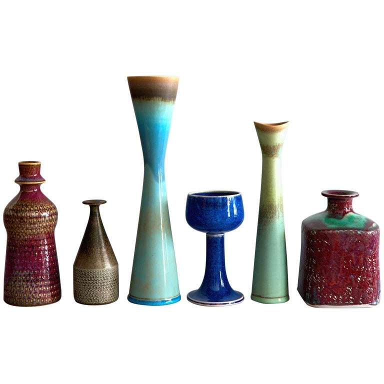 Six Studio Vases by Stig Lindberg For Sale