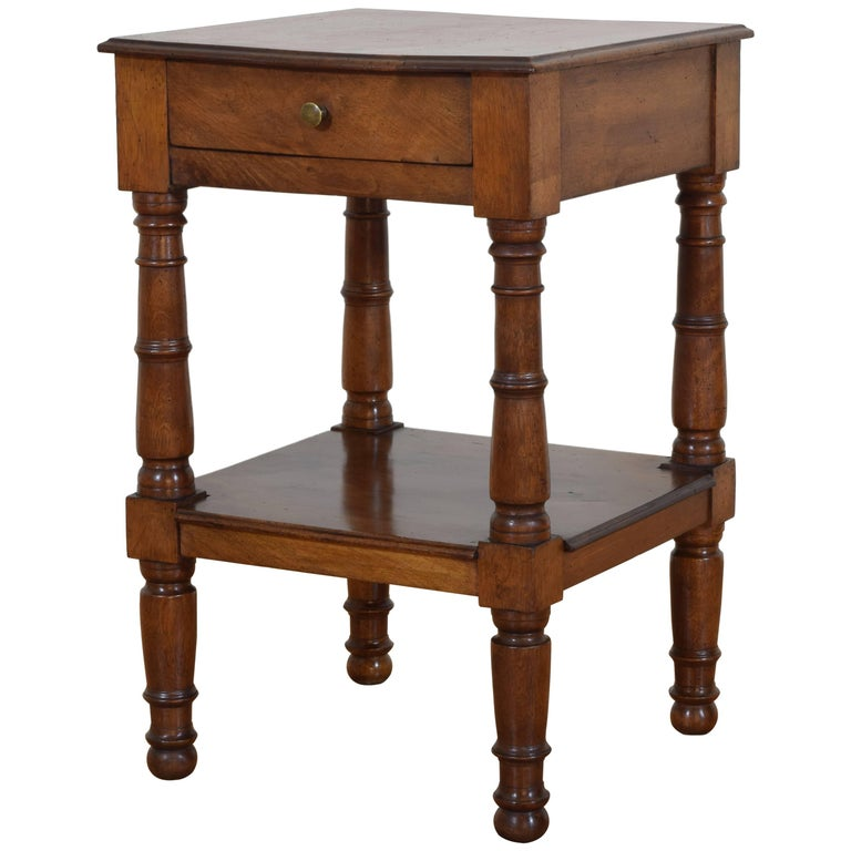 French Walnut Louis Philippe Two Tier Side Table, ca. 1840