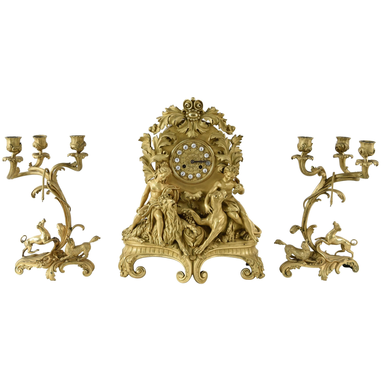 19th Century French Gilt Figural Clock Set