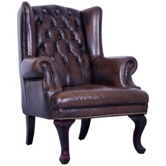 Chesterfield Armchair Brown Mocca Leather Vintage Retro Wood Handmade