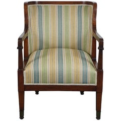 Empire Mahogany Chair in Striped Fabric