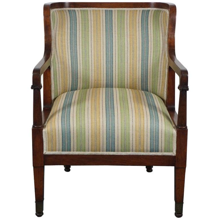 Empire Mahogany Chair in Striped Fabric 1