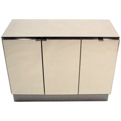 Ello Lightly Smoked Mirror and Brushed Chrome 3-Door Credenza
