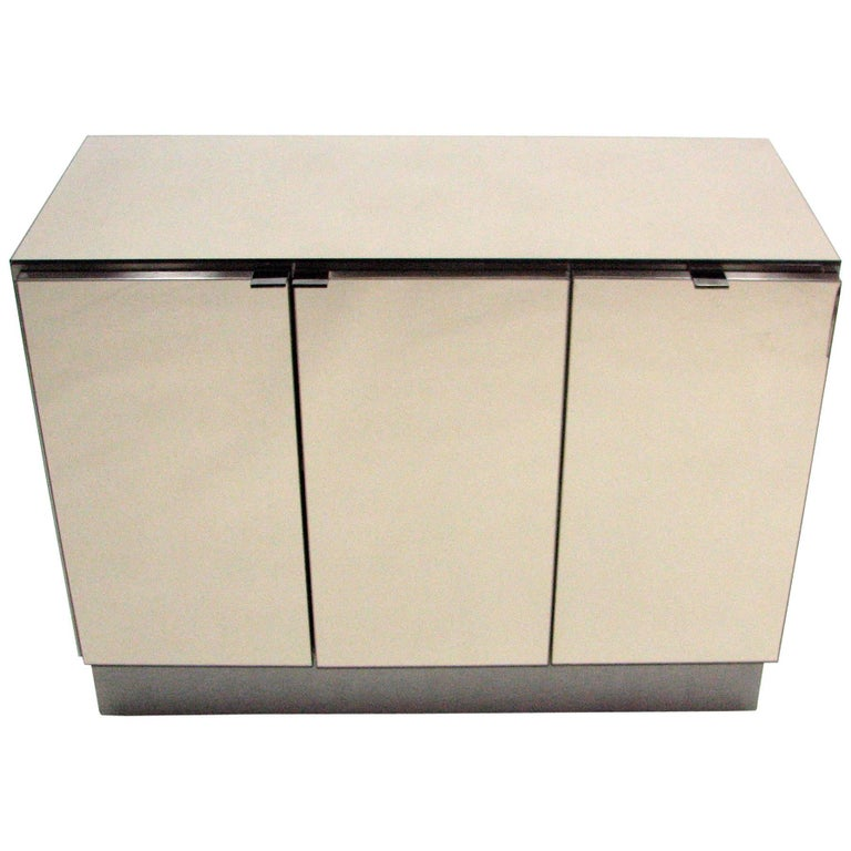 Ello Lightly Smoked Mirror and Brushed Chrome 3-Door Credenza For Sale