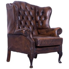 Chesterfield Armchair Brown Mocca Leather Vintage Retro Wood Handmade Rivets