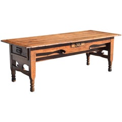 French Louis Philippe Walnut and Pinewood Kitchen Work Table, 19th Century
