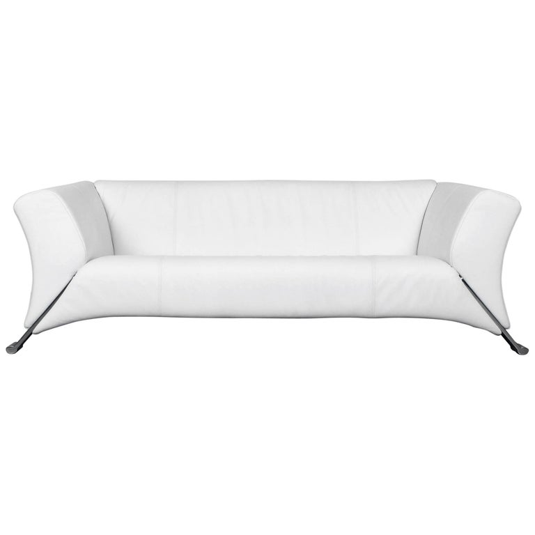 Rolf Benz 322 Designer Sofa White Three Seat Leather
