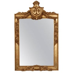 Louis XVI Style Hand-Carved Mirror Antiqued Gold Gilt