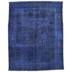 Distressed Blue Overdyed Vintage Persian Rug, Blue Persian Rug