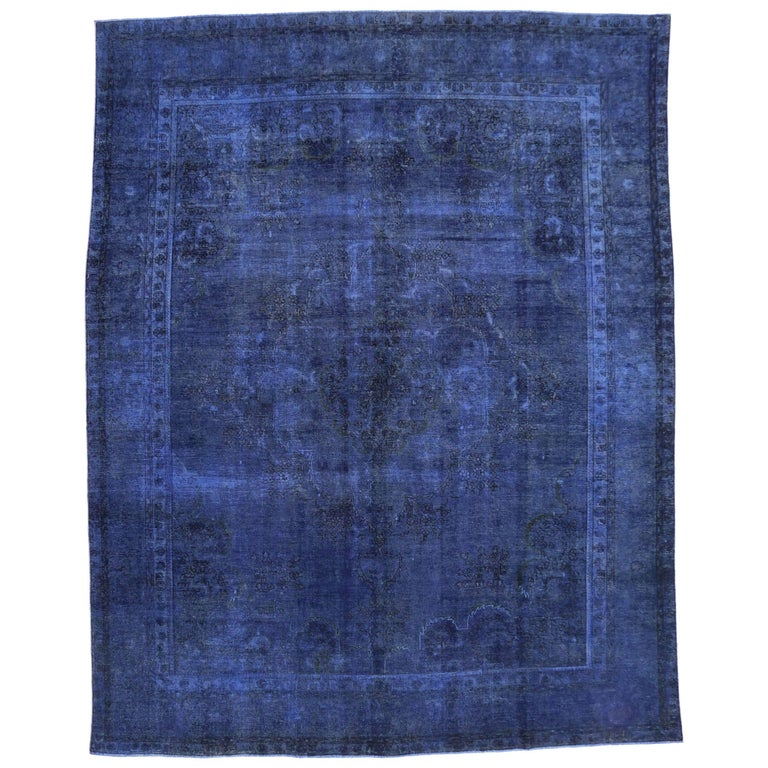 Royal Border Oriental Rug By Rug Culture: Distressed Blue Overdyed Vintage Persian Rug, Blue Persian
