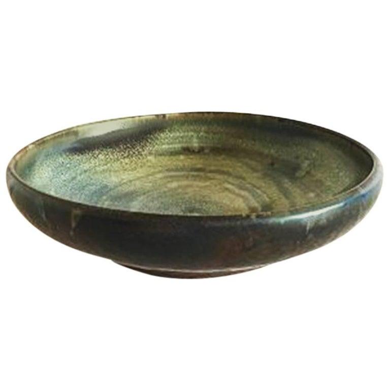 Bing & Grondahl Unique Stoneware Bowl by Lotte Lindahl #C79 For Sale