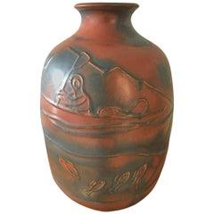 Large Ebbe Sadolin Ceramic Stoneware Vase from Bing & Grøndahl. No. C.87