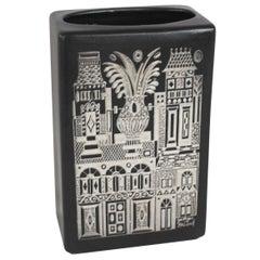 Silver Inlaid Black Matte Ceramic Vase by Georges Briard
