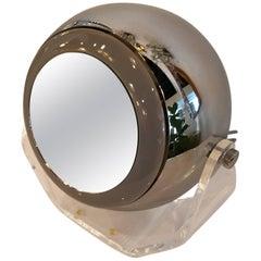 Robert Sonneman Lucite Eyeball Mirror Vanity Table Lamp Light Makeup Swivel