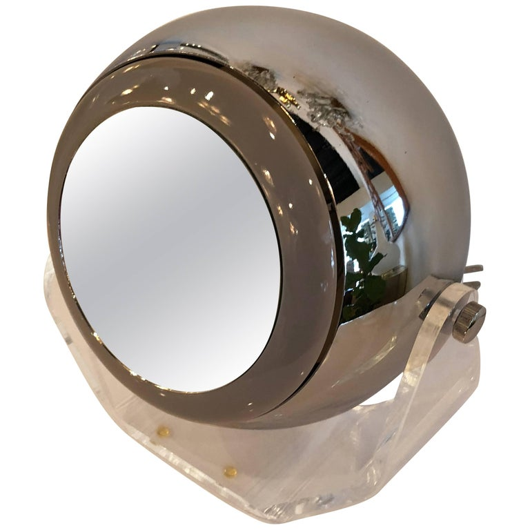 Robert Sonneman Lucite Eyeball Mirror Vanity Table Lamp Light Makeup Swivel