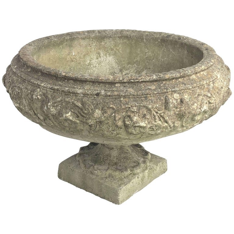 Large English Garden Stone Urn or Planter For Sale