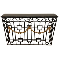 Metal and Marble Console Table with Gold Scroll Work