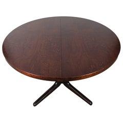 Midcentury Finnish Isku Rosewood Extendable Pedestal Dining Table