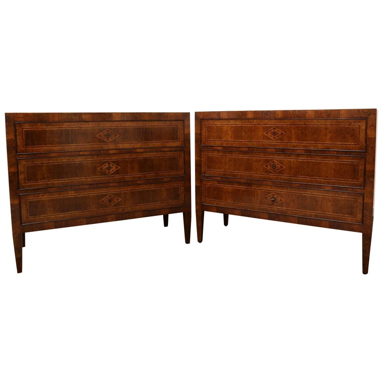 Hand-Carved Three-Drawer Chests Maple Inlaid with Rosewood