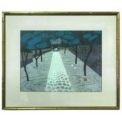 "Kiyoshi Saito Limited Edition Japanese Woodblock Print ""Saiho-Ji Kyoto"""